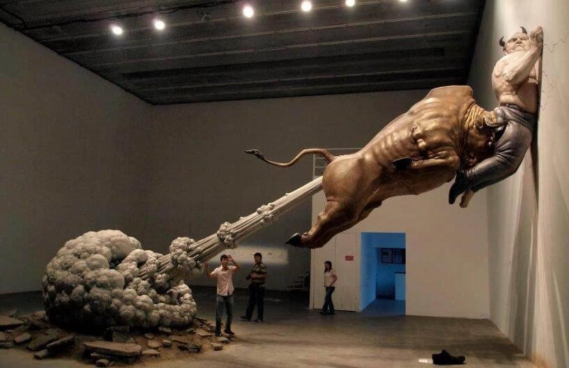 farting bull weird statue in beijing